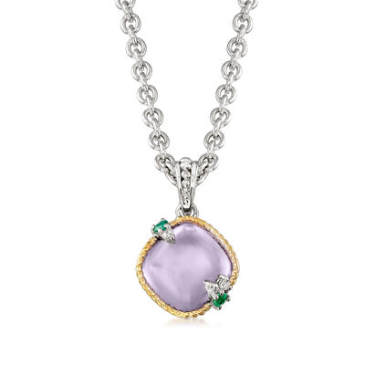 "Andrea Candela ""Dulcitos"" 4.20 Carat Amethyst and Emerald-Accented Pendant Necklace in Sterling Silver and 18kt Yellow Gold"
