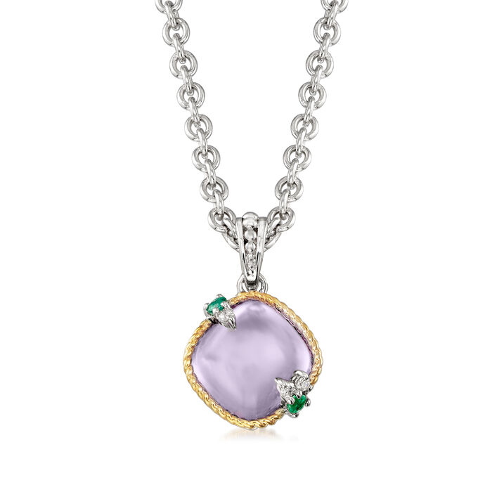 """Andrea Candela """"Dulcitos"""" 4.20 Carat Amethyst and Emerald-Accented Pendant Necklace in Sterling Silver and 18kt Yellow Gold"""