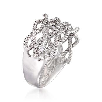 Gabriel Designs .39 ct. t.w. Diamond Woven Three-Row Ring in 14kt White Gold
