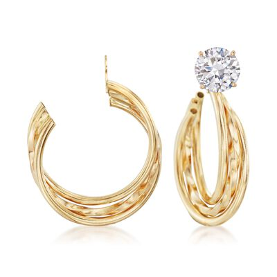 14kt Yellow Gold Multi-Row Twisted Hoop Earring Jackets, , default