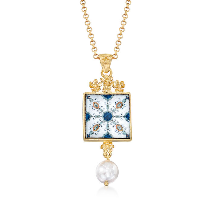 Italian 9mm Cultured Pearl Majolica Tile Pendant Necklace in 18kt Gold Over Sterling, , default