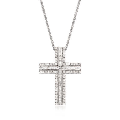 1.00 ct. t.w. Cross Pendant Necklace in 14kt White Gold
