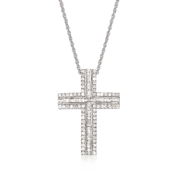 1.00 ct. t.w. Baguette and Round Cross Pendant Necklace in 14kt White Gold