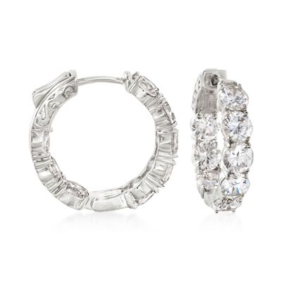 7.00 ct. t.w. CZ Inside-Outside Hoop Earrings in Sterling Silver, , default