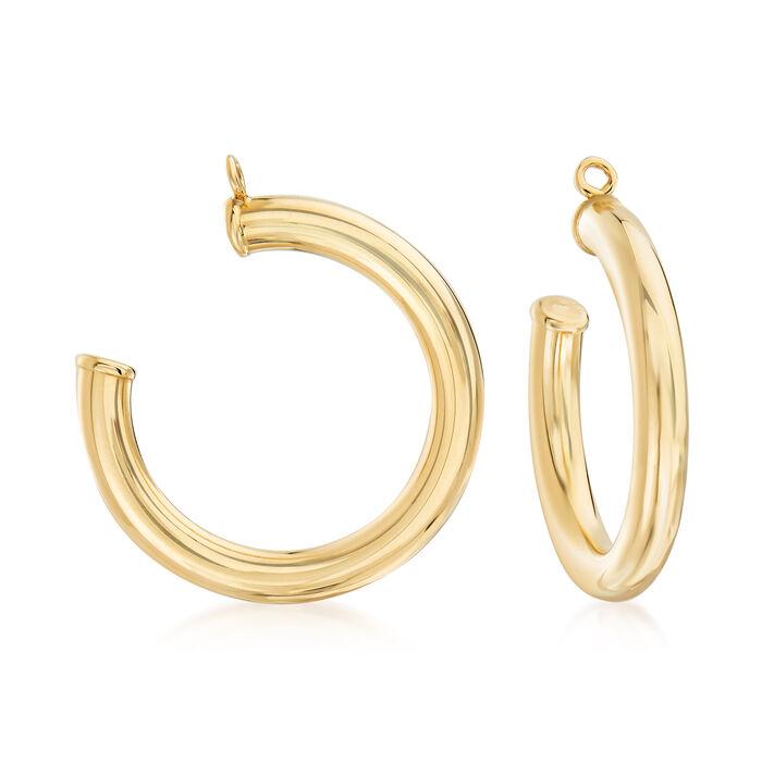"14kt Yellow Gold Hoop Earring Jackets. 7/8"""