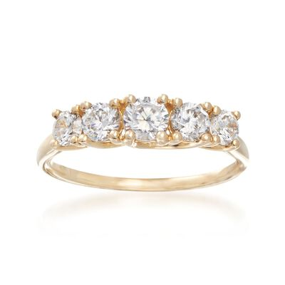 1.00 ct. t.w. CZ Five-Stone Ring in 14kt Yellow Gold, , default