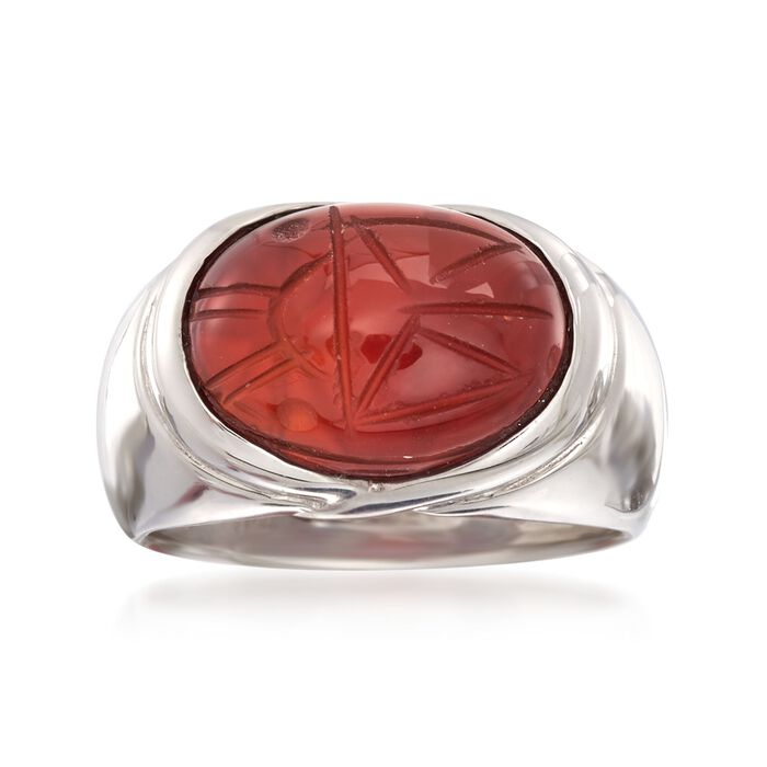 Orange Onyx Scarab Ring in Sterling Silver