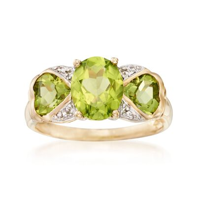 3.40 ct. t.w. Peridot Ring in 14kt Yellow Gold, , default