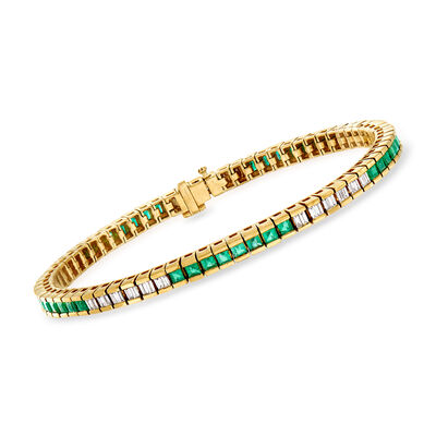 C. 1980 Vintage 3.20 ct. t.w. Emerald and 1.00 ct. t.w. Diamond Line Bracelet in 14kt Yellow Gold, , default
