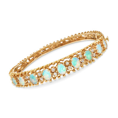 C. 1970 Vintage Opal and .65 ct. t.w. Diamond Bracelet in 14kt Yellow, , default
