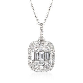 "Simon G. .56 ct. t.w. Diamond Pendant Necklace in 18kt White Gold. 17"", , default"