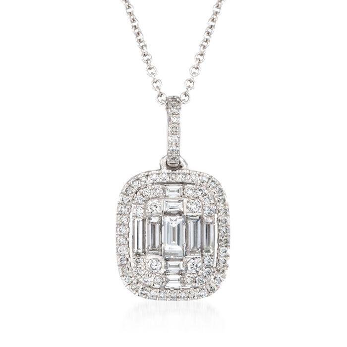 "Simon G. .56 ct. t.w. Diamond Pendant Necklace in 18kt White Gold. 17"", , default"