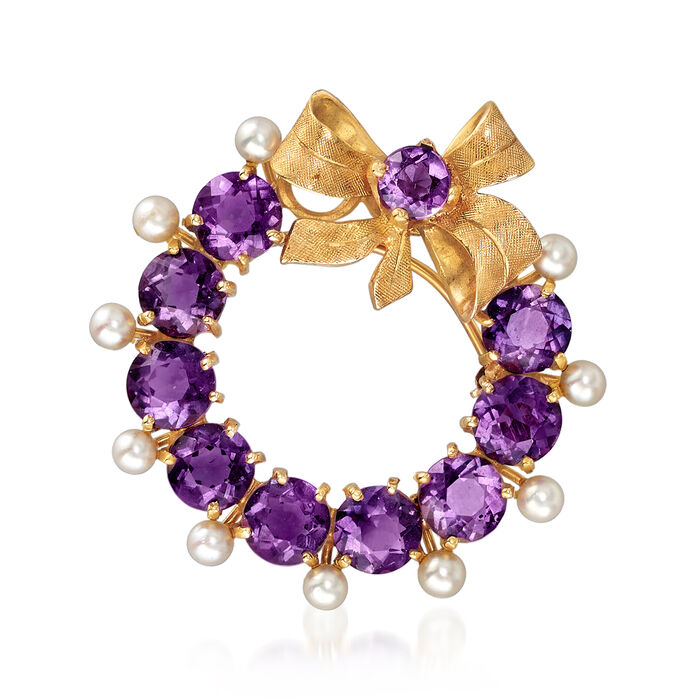 C. 1970 Vintage 3mm Cultured Pearl and 3.45 ct. t.w. Amethyst Wreath and Bow Pin/Pendant in 14kt Yellow Gold, , default