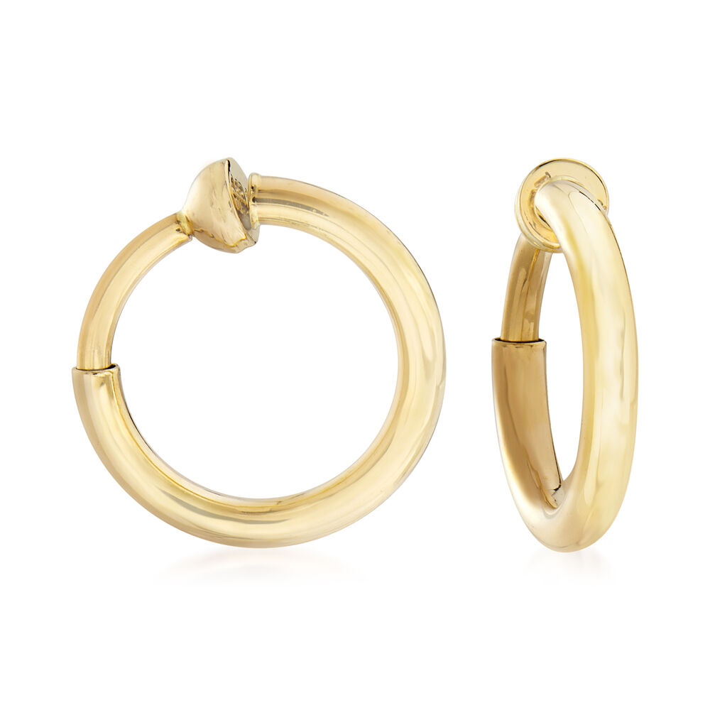 14kt Yellow Gold Small Clip On Hoop Earrings 1 2
