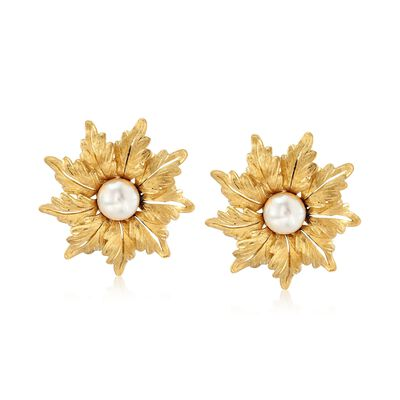 C. 1980 Vintage 8mm Cultured Pearl Floral Earrings in 18kt Yellow Gold