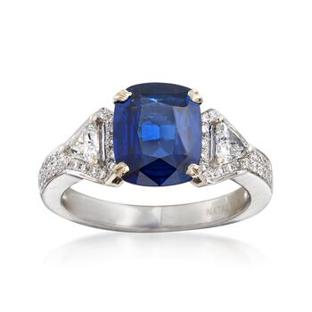 C. 2000 Vintage 3.00 Carat Sapphire and .56 ct. t.w. Diamond Ring in 14kt White Gold. Size 6.5, , default