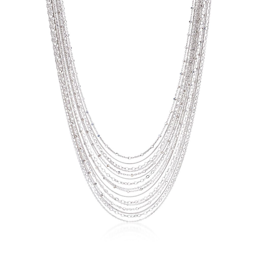 Italian Sterling Silver Layered Multi-Chain Necklace. 18.5 quot  a5262b9d0