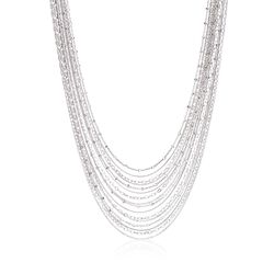 "Italian Sterling Silver Layered Multi-Chain Necklace. 18.5"", , default"