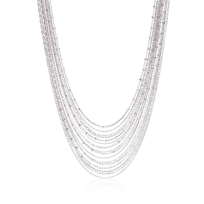 """Italian Sterling Silver Layered Multi-Chain Necklace. 18.5"""", , default"""