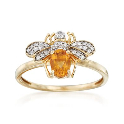 .40 Carat Citrine and .10 ct. t.w. Diamond Bee Ring in 14kt Yellow Gold, , default