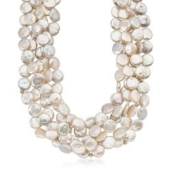 Cultured Coin Pearl Multi-Strand Necklace With 14kt Gold Over Sterling, , default