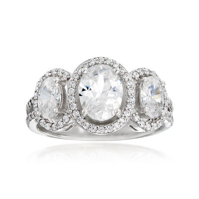 2.69 ct. t.w. CZ Three-Stone Ring in Sterling Silver