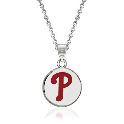"Sterling Silver MLB Philadelphia Phillies Enamel Disc Pendant Necklace. 18"""