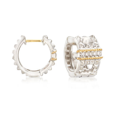 "Andrea Candela ""La Romana"" .14 ct. t.w. Diamond Huggie Hoop Earrings in Sterling Silver and 18kt Gold, , default"