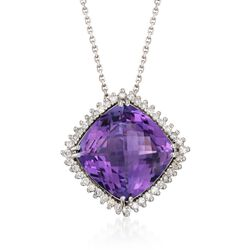 "12.00 Carat Amethyst and .40 ct. t.w. Diamond Necklace in 14kt White Gold. 18"", , default"