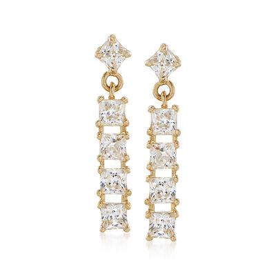 .50 ct. t.w. Princess-Cut CZ Bar Drop Earrings in 14kt Yellow Gold, , default