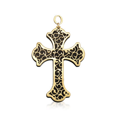 Italian Black Onyx and 14kt Yellow Gold Scrollwork Cross Pendant, , default
