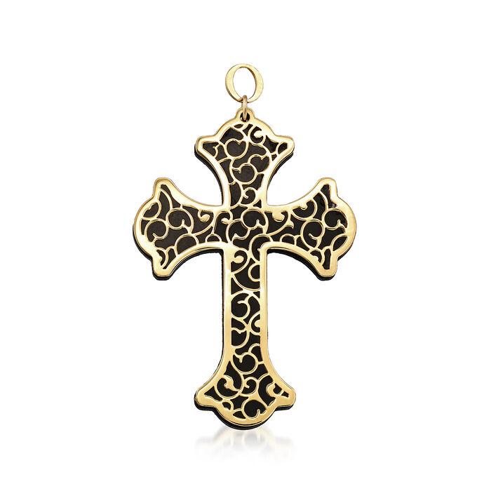 Italian Black Onyx and 14kt Yellow Gold Scrollwork Cross Pendant