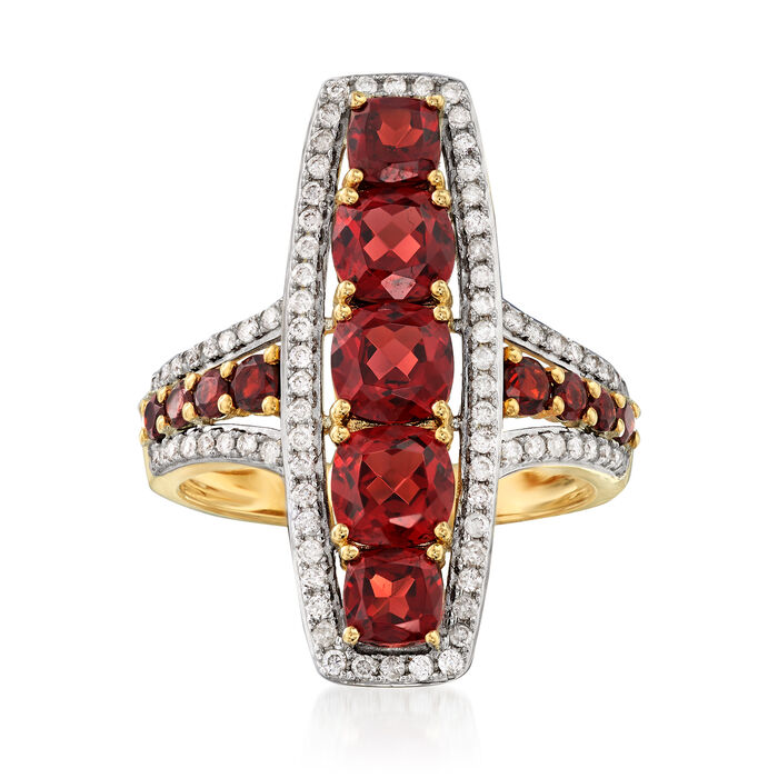 2.90 ct. t.w. Garnet and .36 ct. t.w. Diamond Ring in 14kt Yellow Gold, , default