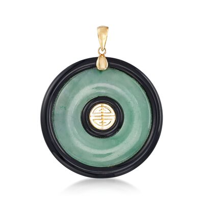 Green Jade and Black Agate Shou Pendant in 14kt Yellow Gold