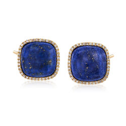 Square Lapis and .29 ct. t.w. Diamond Earrings in 14kt Yellow Gol, , default
