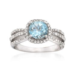 1.25 Carat Aquamarine and .45 ct. t.w. Diamond Ring in 14kt White Gold, , default