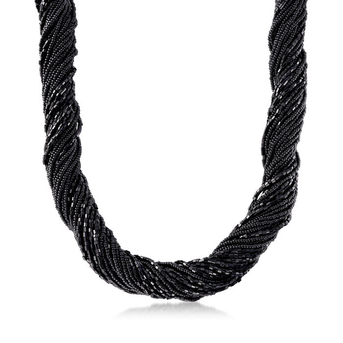 """Italian Black Murano Glass Bead Torsade Necklace with Sterling Silver. 20"""""""