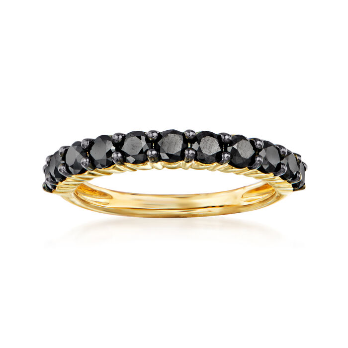 1.00 ct. t.w. Black Diamond Ring in 14kt Yellow Gold