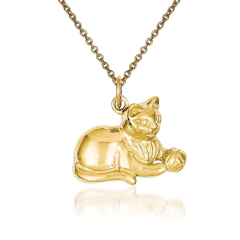 14kt yellow gold cat pendant necklace 18 ross simons 14kt yellow gold cat pendant necklace 18quot default aloadofball Gallery