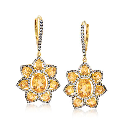 4.60 ct. t.w. Citrine and 1.40 ct. t.w. White Topaz Flower Drop Earrings in 18kt Gold Over Sterling, , default