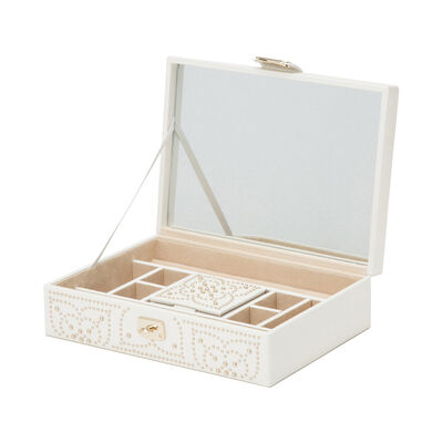 "Wolf ""Marrakesh"" White Leather Flat Jewelry Box, , default"