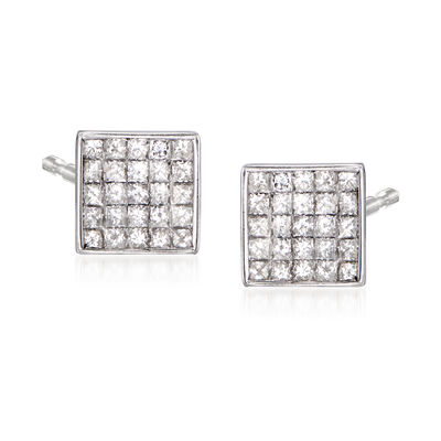 C. 1990 Vintage 2.50 ct. t.w. Diamond Square Earrings in 14kt White Gold