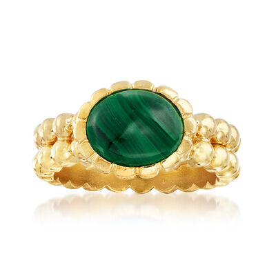 Italian 10x8mm Malachite Double-Row Beaded Ring in 18kt Gold Over Sterling, , default