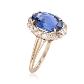 C. 1990 Vintage 3.91 Carat Sapphire and .80 ct. t.w. Diamond Ring in 14kt Yellow Gold. Size 7.5, , default