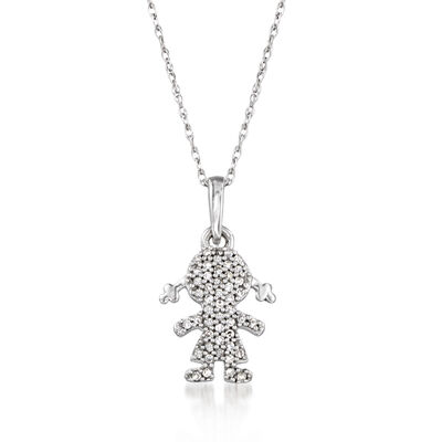 Diamond-Accented Girl Silhouette Pendant Necklace in 14kt White Gold