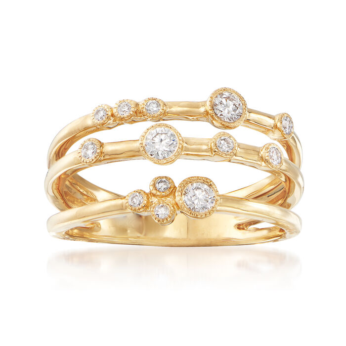 . 31 ct. t.w. Diamond Three-Row Ring in 18kt Yellow Gold. Size 6