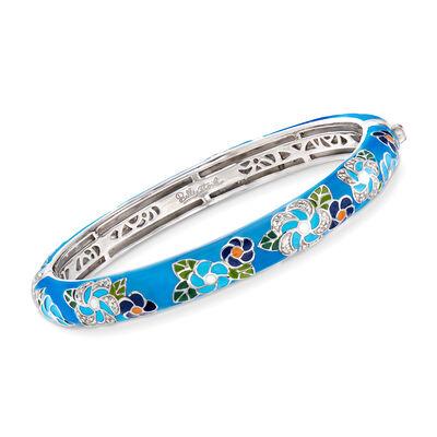 "Belle Etoile ""Melia"" Multicolored Enamel and .25 ct. t.w. CZ Floral Bangle Bracelet in Sterling Silver, , default"