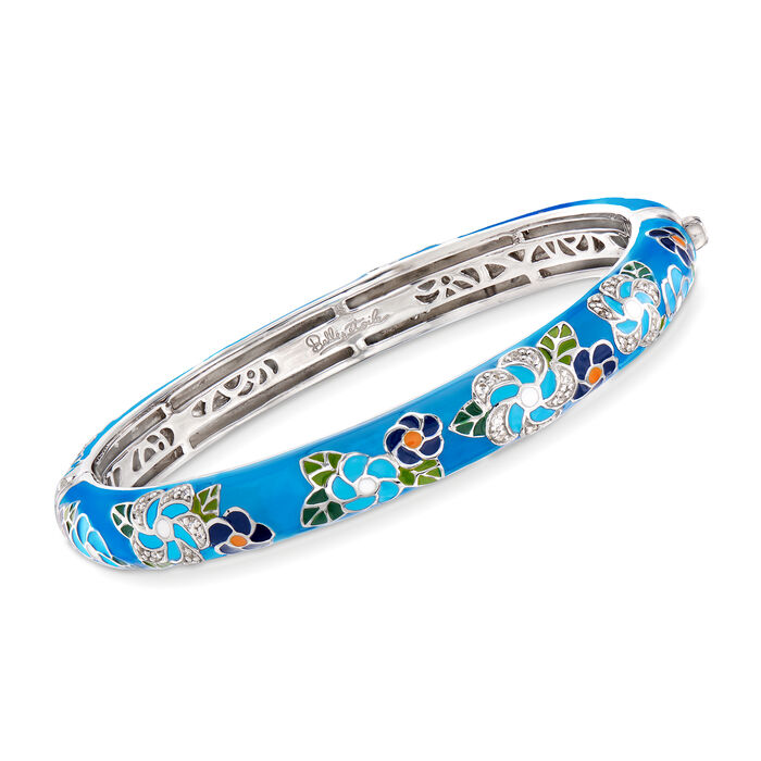 """Belle Etoile """"Melia"""" Multicolored Enamel and .25 ct. t.w. CZ Floral Bangle Bracelet in Sterling Silver. 7"""""""