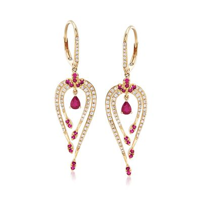 .50 ct. t.w. Ruby and .49 ct. t.w. Diamond Drop Earrings in 14kt Yellow Gold, , default
