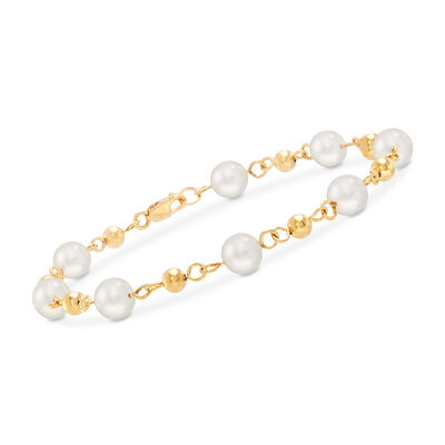 7mm Cultured Pearl Bracelet Station Bracelet in 18kt Gold Over Stelring, , default